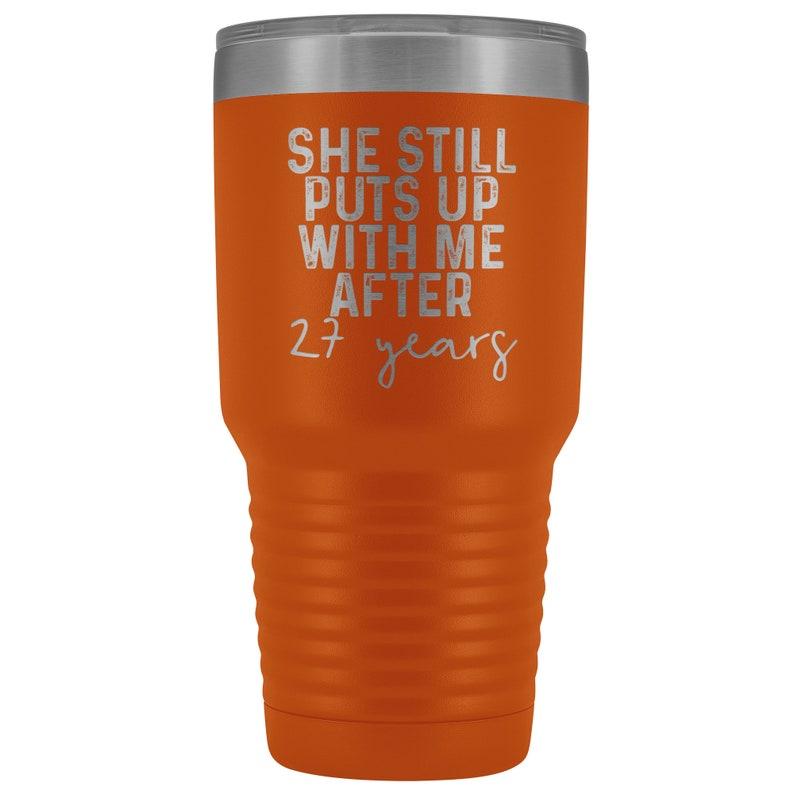 27 Year Anniversary Tumbler Mug 27th Anniversary Gifts for Parents