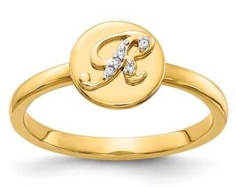 14 Karat Solid Gold Diamond Initial A,B,C,D,E,F,G,H,I,J,K,L,M,N,O,P,Q,R,S,T,U,V,W,X,Y,Z Ring Band Stackable Alphabet Personalized Jewelry