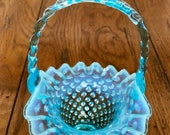 Fenton Carnival Glass Opalescent Ice Blue Hobnail Small Basket