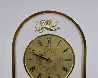 RARE SEIKO Brass & Glass CUPID Pendulum Quartz Clock - PW320G