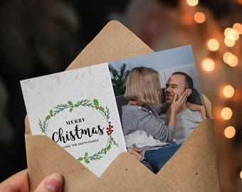 Christmas Postcard Template  5x7 -  V19 - Instant Download