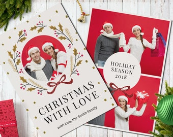 Christmas Postcard Template  5x7 -  V11 - Instant Download