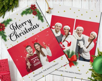 Christmas Postcard Template  5x7 -  V12 - Instant Download