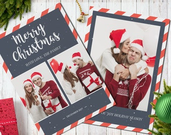 Christmas Postcard Template  5x7 -  V1 - Instant Download
