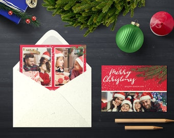 Christmas Postcard Template  5x7 -  V15 - Instant Download