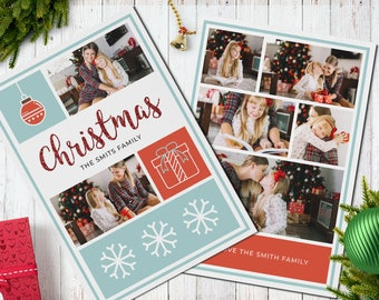 Christmas Postcard Template  5x7 -  V2 - Instant Download
