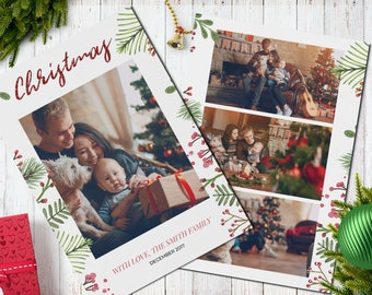 Christmas Postcard Template  5x7 -  V7 - Instant Download