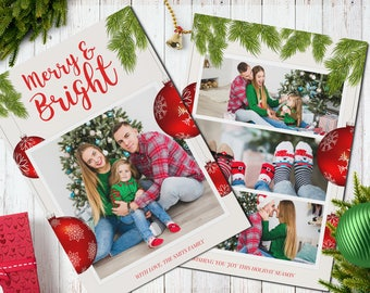 Christmas Postcard Template  5x7 -  V4 - Instant Download