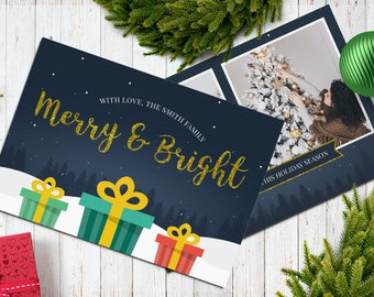 Christmas Postcard Template  5x7 -  V16 - Instant Download