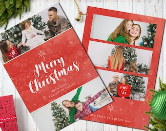 Christmas Postcard Template  5x7 -  V10 - Instant Download