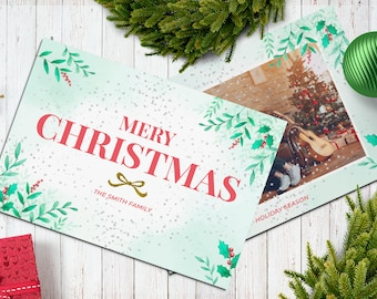 Christmas Postcard Template  5x7 -  V21 - Instant Download