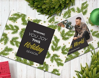 Christmas Postcard Template  5x7 -  V18 - Instant Download