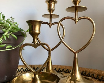 vintage heart brass candlestick holders / set of 3 candleholders made in India