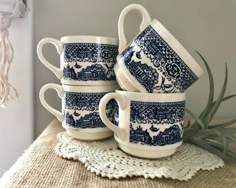 vintage stackable blue Toile mugs / set of 4 Churchill Toile blue coffee mugs