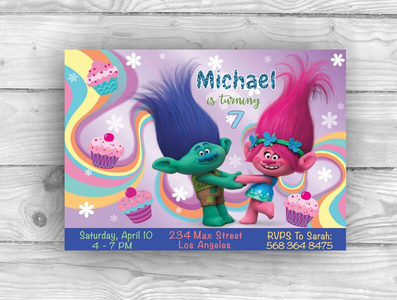 Personalized Trolls Birthday Invitation For Party Printable