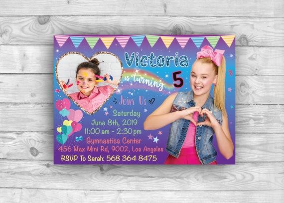 Jojo Siwa Invitation Photo for Bow Birthday Party, Printable Jojo Siwa Party Supplies, Custom Digital Jojo Siwa Invite Card
