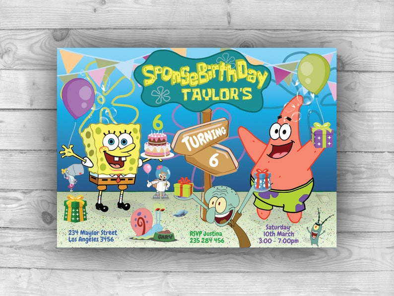 Personalized SpongeBob Invitation For Birthday Party