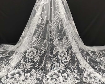 GoldWhite Sequins Embroidered Lace Fabric By The Yard,Wedding Bridal Dress Mesh Fabric,DIY Handmade,For Evening Dress,Width 51 inches