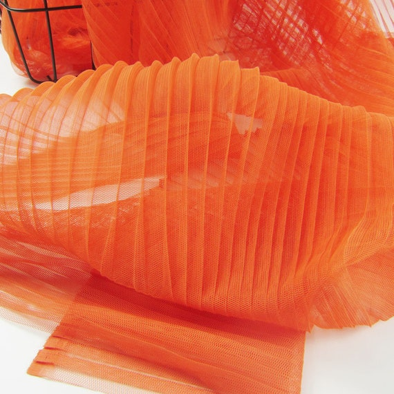 accordion pleats mesh fabric pleated tulle Panel lace fabric by the yard Vertical crease ruffled tulle fabric,Width 59 inches