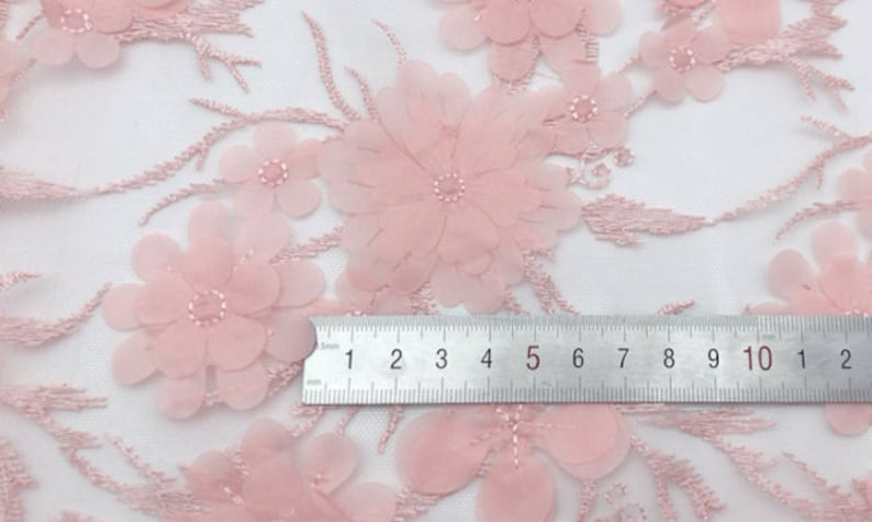 Floral Embroidery Lace Fabric By The Yard Soft Tulle Fabric Wedding Dress Veil Costume Supplies Mesh Fabric,DIY Handmade,Width 55 inches