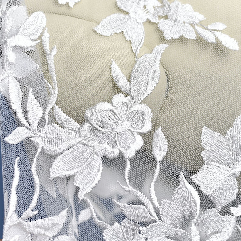 Floral Embroidered Lace Fabric By The Yard Bridal Wedding Dress Mesh Fabric,Costume,Craft Making,Width 53 inches
