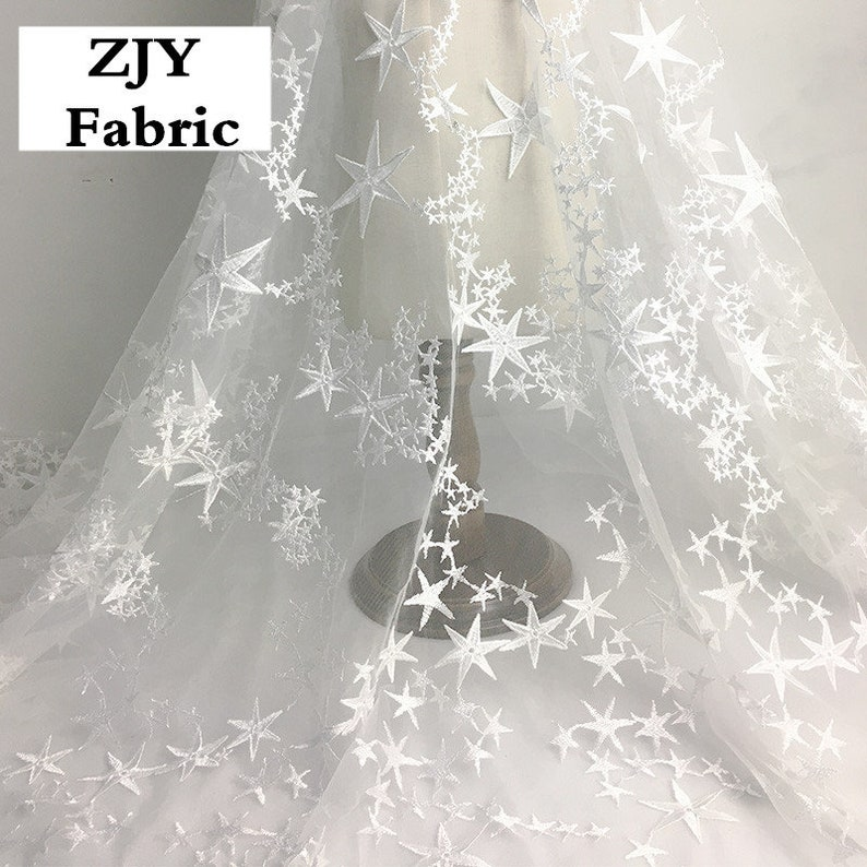 Star wedding lace fabric by the yard tulle embrodery lace fabric bridal gown lace fabric for party dress,Width 51 inches