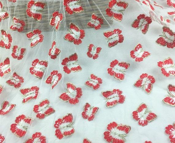 Paillettes papillon brodé dentelle tissu par yard, yard, yard, mariage robe de mariée maille tissu, matériel de bricolage, largeur 51 pouces 9c1932