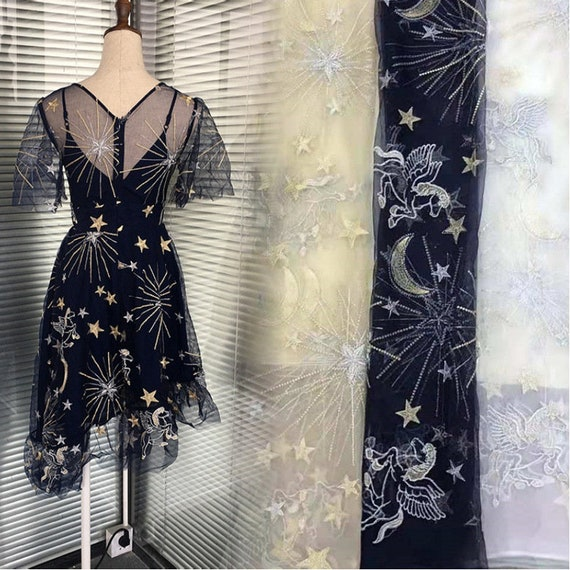 Floral Embroidery Lace Fabric By The Yard,Evening Dress Mesh Fabric,DIY Handmade,Width 51 inches
