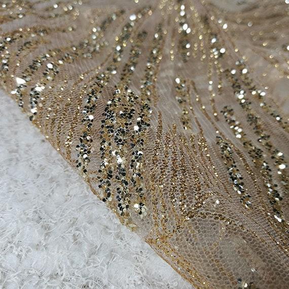 d6ddf9c422994 ... Douce dentelle paillettes or par yard, robe de mariée à tissu maille,  bricolage fait