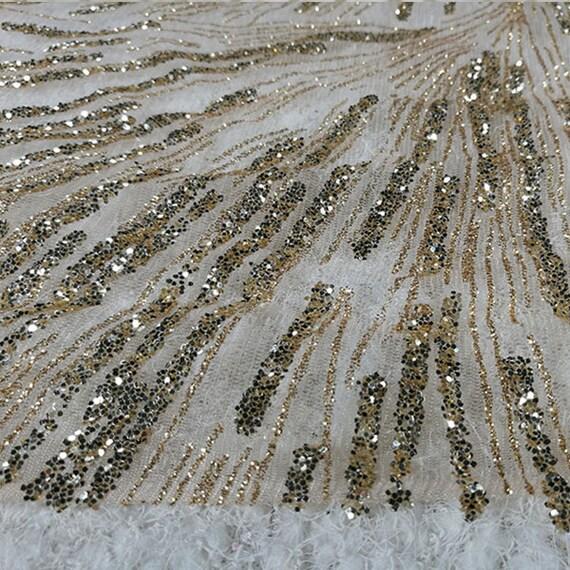 706000d0df63b Douce dentelle paillettes or par yard, robe de mariée à tissu maille,  bricolage fait ...