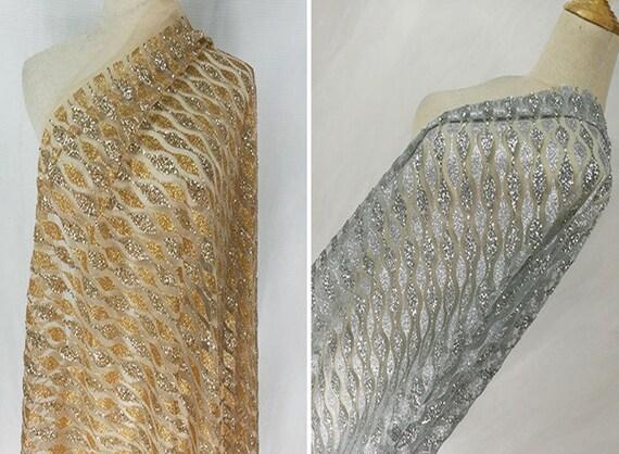 Tissu en dentelle galon paillettes argent/or par yard, robe tissu de mariée tissu robe maille, bricolage fait à la main, pour robe de soirée, largeur 51 pouces da66c0
