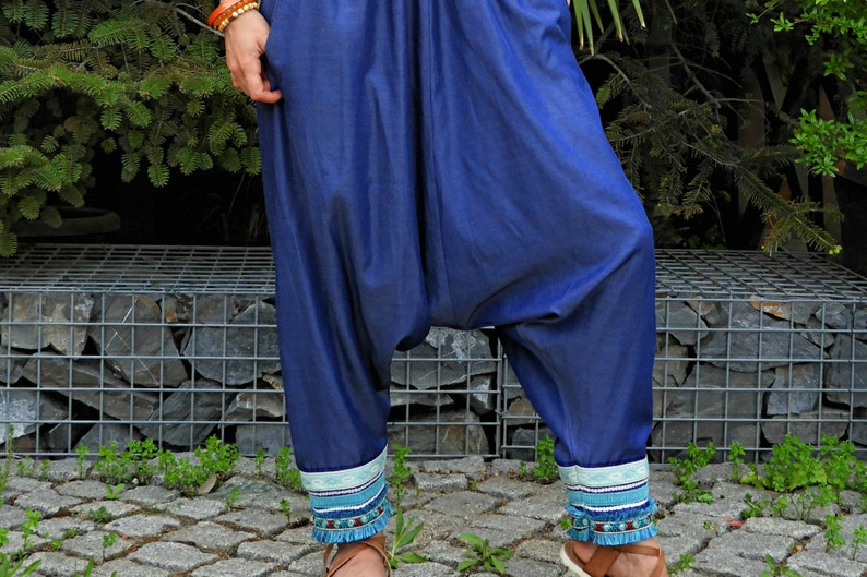 Hippie Pants Gypsy Pants Boho Pants Women Denim Harem Pants Blue Aladdin Pants Harem Pants Women Music Festival Clothing