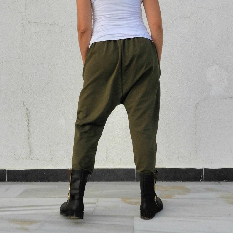 Haremshose Herren Plus Size Drop Crotch Pants Harem Pants Women Military Green Extra Tall Baggy Pants Winter
