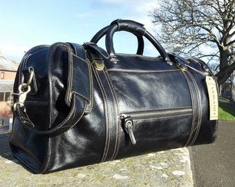 SALE   New Genuine Italian Leather Duffle Weekend Gym Travel Flight Cabin  Sports Bag Holdall Mens Birthday Gift Black Verano 7ef8b891e7