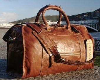 3617b080918bea SALE : New Genuine Italian Leather Duffle Weekend Gym Travel Flight Cabin Sports  Bag Holdall Mens Birthday Gift Brown Verano