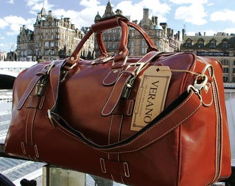 SALE New Genuine Italian Leather Duffle Weekend Gym Travel Flight Sports  Bag Holdall Rain Resistant Mens Birthday Gift Brown Verano 43f2e7e9679e7