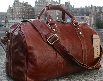 SALE New Leather Italian Duffle Travel Flight Gym Caryon Bag Holdall Mens  Gift Possum Brown Verano 64b03008da