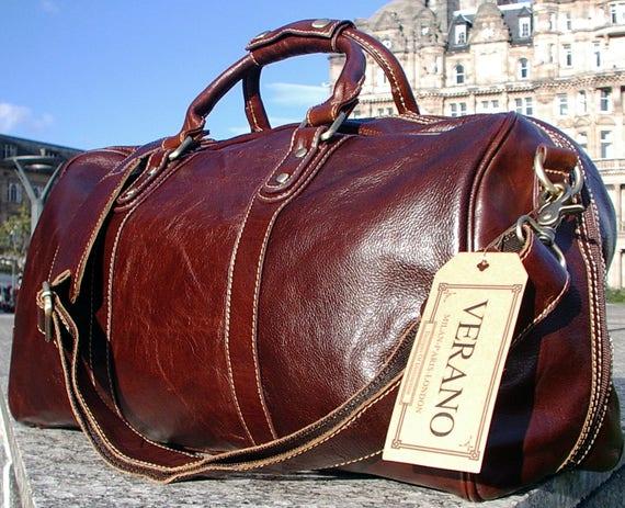New Leather Italian Duffle Travel Flight Gym Weekend Caryon   Etsy eac9dbd240
