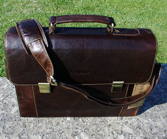 New Genuine Italian Leather Briefcase Messenger Office Work Shoulder Bag Satchel Mens Wedding Gift Mocha Dark Brown Real Luxury Verano