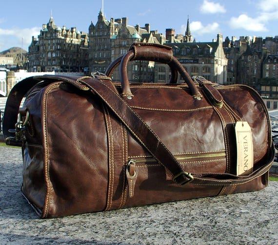 SALE New Genuine Italian Leather Duffle Weekend Gym Travel   Etsy 3c655e1230