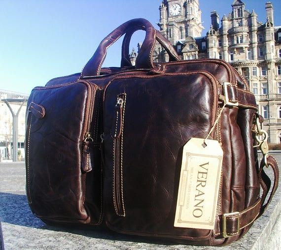 Genuine Italian Leather Briefcase Backpack Rucksack Duffle   Etsy f243ed11c0