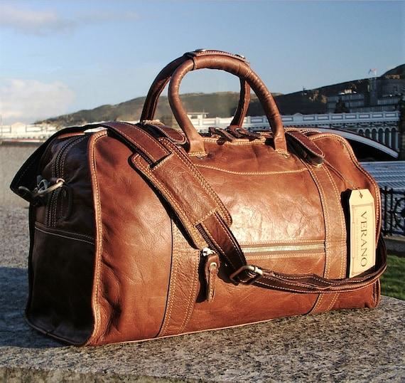 SALE   New Genuine Italian Leather Duffle Weekend Gym Travel   Etsy daf8af85cf