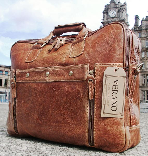 SALE New Genuine Italian Leather Briefcase Messenger Travel   Etsy 5375b2a97a