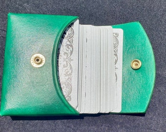 """Handmade hand-stitched all leather Lenormand standard tarot card deck case.  Inside dimensions are  5"""" x 3 1/2"""" x 1""""."""