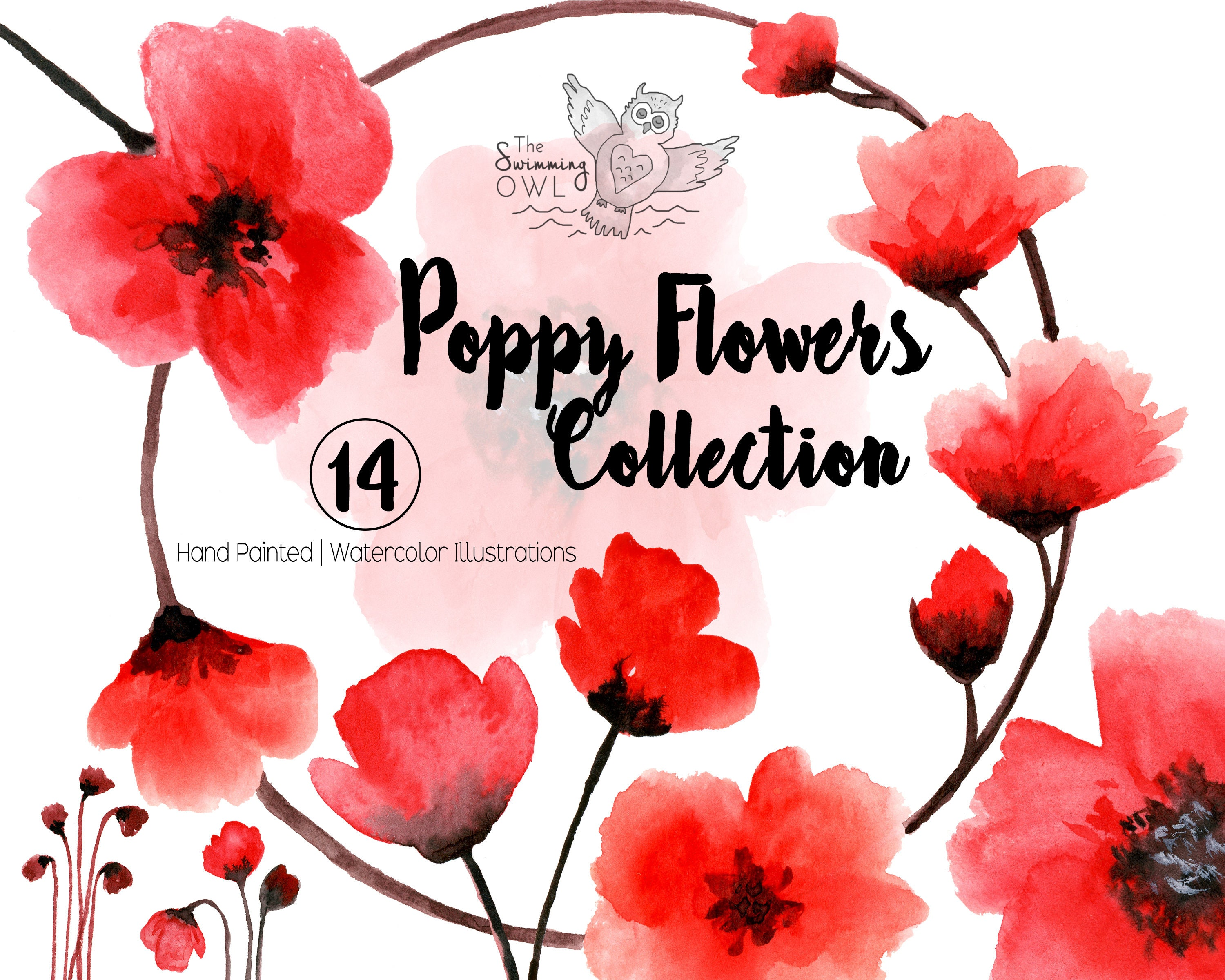 Watercolor clipart poppy flowers red flowers floral etsy mightylinksfo