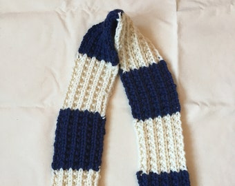 White and Navy Striped Scarf