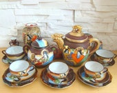Vintage Japanese Satsuma porcelain tea set of (16 items). Antique Satsuma Moriage Porcelain tea set.