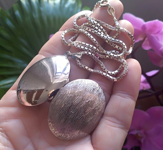 Antique Locket Sterling Silver Pendant from 1920s.