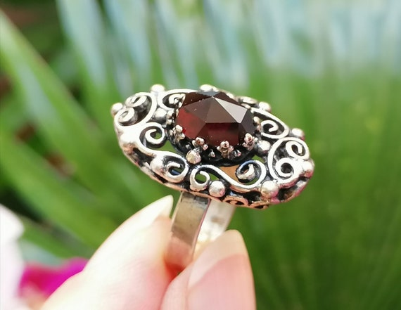 Antique Silver Garnet Ring from 1900s. Victorian s