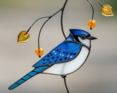 Blue jay stained glass bird suncatcher Mothers Day gift Modern stained glass window hangings